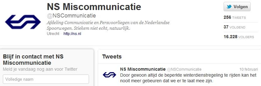 Namaak Twitteraccount NS vaart groeit bij miscommunicatie en falen NS